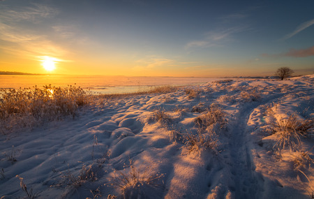 Winter landscape with snow, sea, ocean, ice, blue sky, road with snow, sunshine. Norway, Fredrikstad, Nature Reserve. This is an important area for birds and bird watchers in Norway.
