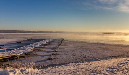 Winter landscape with frozen marina at coast Norway, Fredrikstad