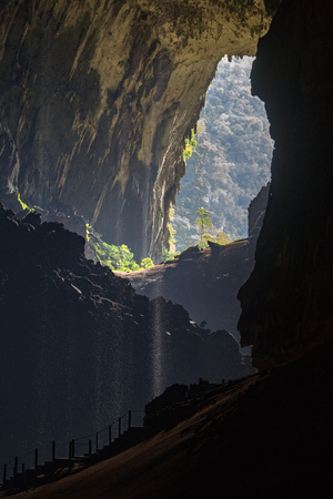 Inside Deer Cave, looking out, in Mulu National Park, Borneo