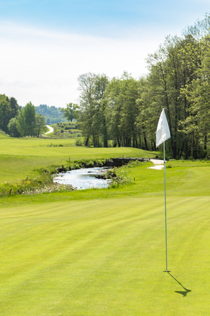 Golf course. Hole with a white flag on a sunny day