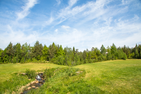 Landscape on a golf course with green grass, forest, trees, beautiful blue sky and a small river and waterfall
