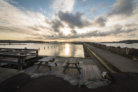 ende: Benches with Faerder National Park in the background, view from Verdens Ende in Vestfold Norway Stock Photo