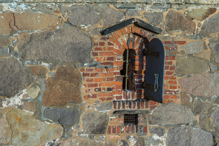 Old window in the old town Fredrikstad, Norway Stock Photo
