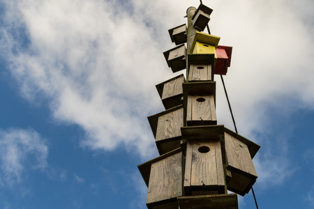Many wooden boxes for birds hanging on an electricity pole Stock Photo