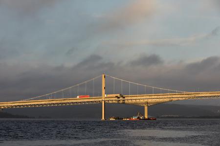 Kristiansand, Norway - October 26, 2017: Work being done under the bridge Varoddbroa.