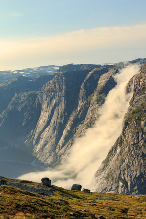 The landscapes of the Norwegian mountains on the track to Trolltunga