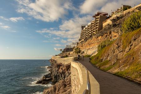 The coastal promenade from Puerto Rico to Amadores, Gran Canaria, Canary Islands, Spain
