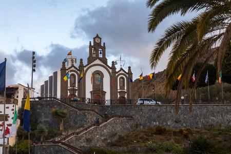 Church at Santa Lucia, Gran Canaria, at the day of the Fiesta for the patron saint, Santa Lucia Stock Photo