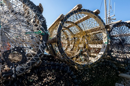lobster pots on land, in the small fishing village Lista, south part of Norway