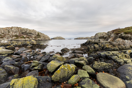 The Rovaer archipelago in Haugesund, at the norwegian west coast. Rovaer is a small group of islands, with only around 110 inhabitants. Stock Photo