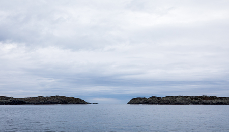 The Rovaer archipelago in Haugesund, in the norwegian west coast. Rovaer is a small group of islands, with only around 110 inhabitants. View from the ferry Rovarfjord.