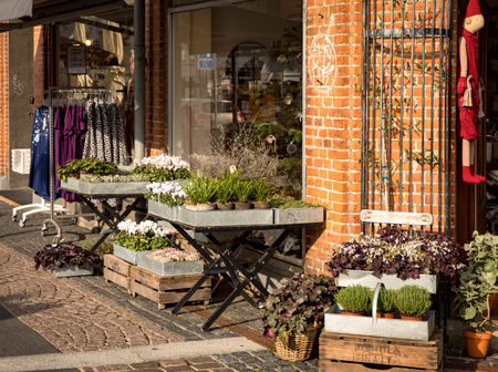 Holbaek, DENMARK - October 2018: Farvehjornet is a beautiful gift and flower shop in Holbaek, a small town in Zealand, Denmark. Editöryel