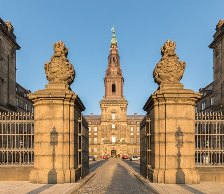 Copenhagen, Denmark - October 2018: Christiansborg Palace in Copenhagen contains the Danish Parliament Folketinget, the Supreme Court, and the Ministry of State.