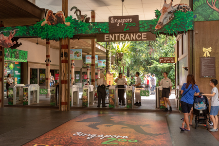 Singapore - December, 2018: Entrance to Singapore Zoo.