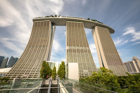 Singapore - December 2016: Marina Bay Sands hotel in Singapore, blue sky and clouds