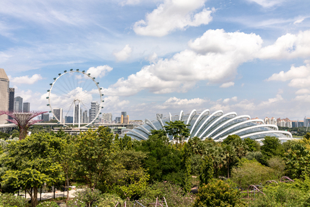 Singapore - december 2018: View of the botanical garden, Gardens by the Bay in Singapore.