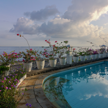 A Balinese pool overlooking the Bali Sea in the village of Amed.