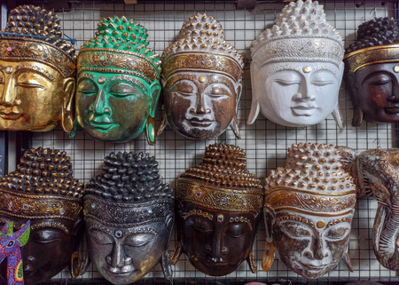 Face mask souvenirs in Ubud Market, Bali in Indonesia - December 2018.