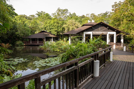 SINGAPORE - December 2018: Wetland Center buildings and pond at the Sungei Buloh Wetland Reserve.