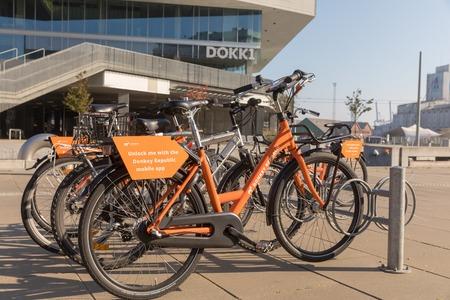 Copenhagen, Denmark, October 2018: Rental bikes outside Dokk1 in Copenhagen
