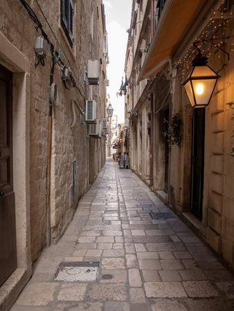 Dubrovnik, Croatia - april 2019: Old City of Dubrovnik. One of many narrow streets of medieval town Editöryel