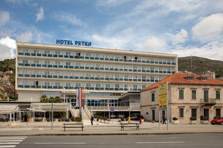 DUBROVNIK, CROATIA - April 2019: Hotel Petka in Dubrovnik, exterior