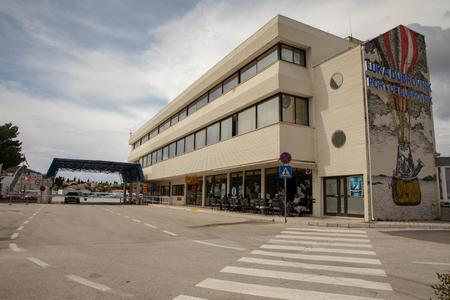 DUBROVNIK, CROATIA - April 2019: Main building of Gruz Port in Dubrovnik, Croatia.