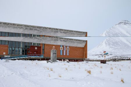 PYRAMIDEN, NORWAY - March 15, 2019: Exterior of the swimmingpool at Pyramiden, in Svalbard, Norway.