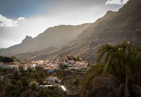 Fataga, a mountain village in Gran Canaria, Canary Islands, Spain. Surrounded by mountains.