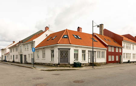Kristiansand, Norway - March 22, 2020: Old houses in Posebyen - the Old Town in Kristiansand.