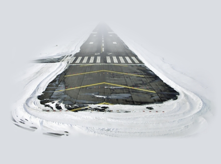 Landing on the snow