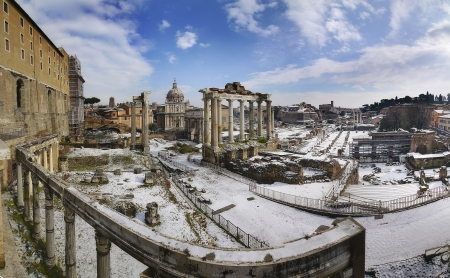 In Rome snow one day every 20 year  this is a very unusual wiev of ancient Rome