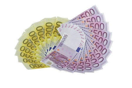 Fans of euro 200 and 500 banknotes Stock Photo - 17564487