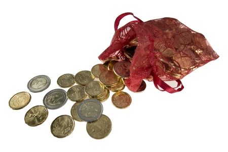 many euro coins come out of a bag Stock Photo - 17724072