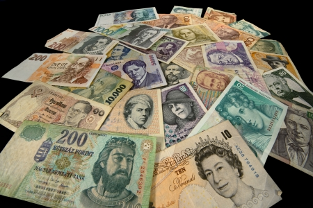 Banknotes of many Countries in the course and off the course Stock Photo - 17724151