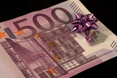 The banknote of 500 euro is a gift Stock Photo - 17724061