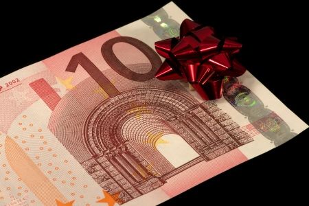 The banknote of 10 euro is a gift Stock Photo - 17724105
