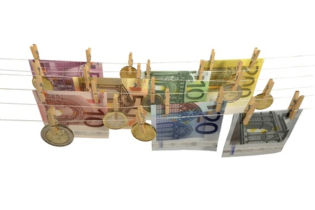 all kinds of Euro banknotes and coins hanging on clotheshorse Stock Photo - 17724073