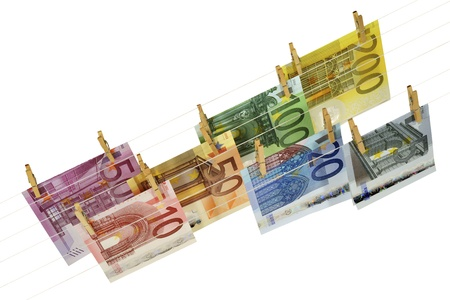 all kinds of Euro banknotes hanging on clotheshorse Stock Photo - 17724109