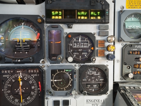 Aircraft cockpit  primary instruments in flight  Stock Photo