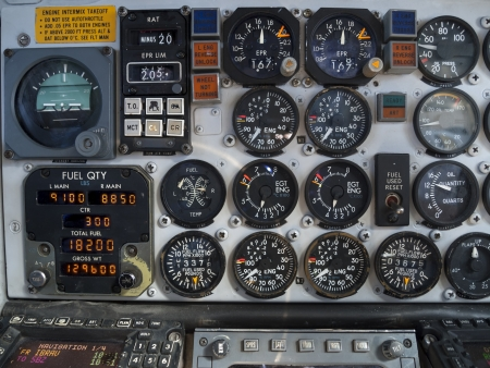 cockpit: Aircraft cockpit  engine and fuel instruments in flight  Stock Photo