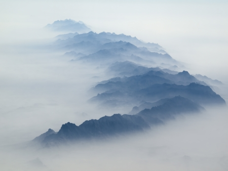 Aerial view of mountain range in southern Afghanistan Stock Photo