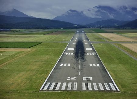 Cockpit View of the Runway of Tarbes  lourdes  France Stock Photo