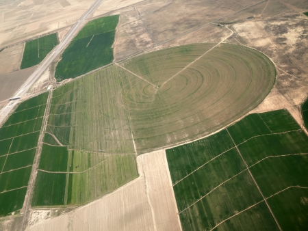 An aerial view of crop circle created in farm fields