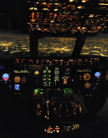 Cockpit snapshot while flying over Madrid Stock Photo