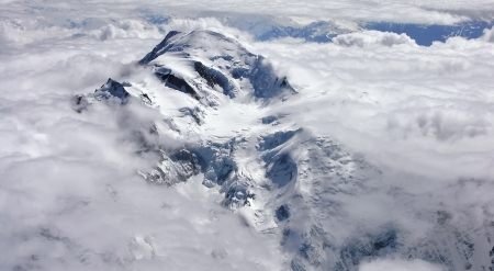 Peak of the Mont Blanc view from the plane Stock Photo