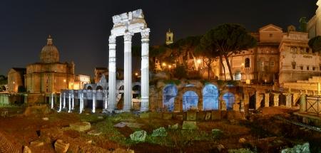 Rome  night view of Roman Forum