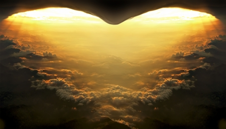 Sunset from the plane in the shape of heart
