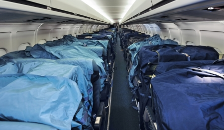 Airliner seats used for a mail flight Stock Photo