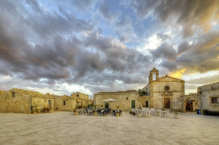 The village square of Marzameni in Sicily, Italy